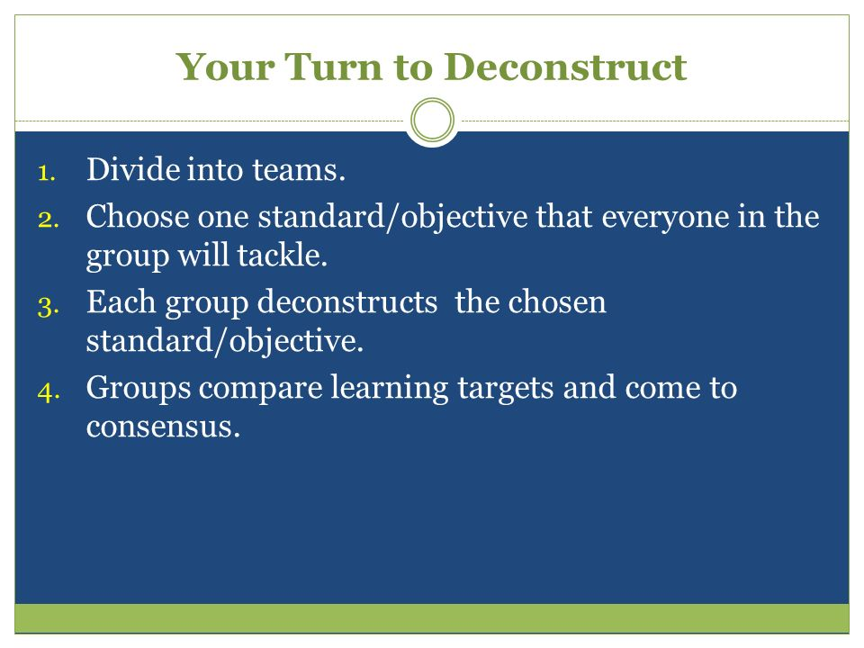 Your Turn to Deconstruct