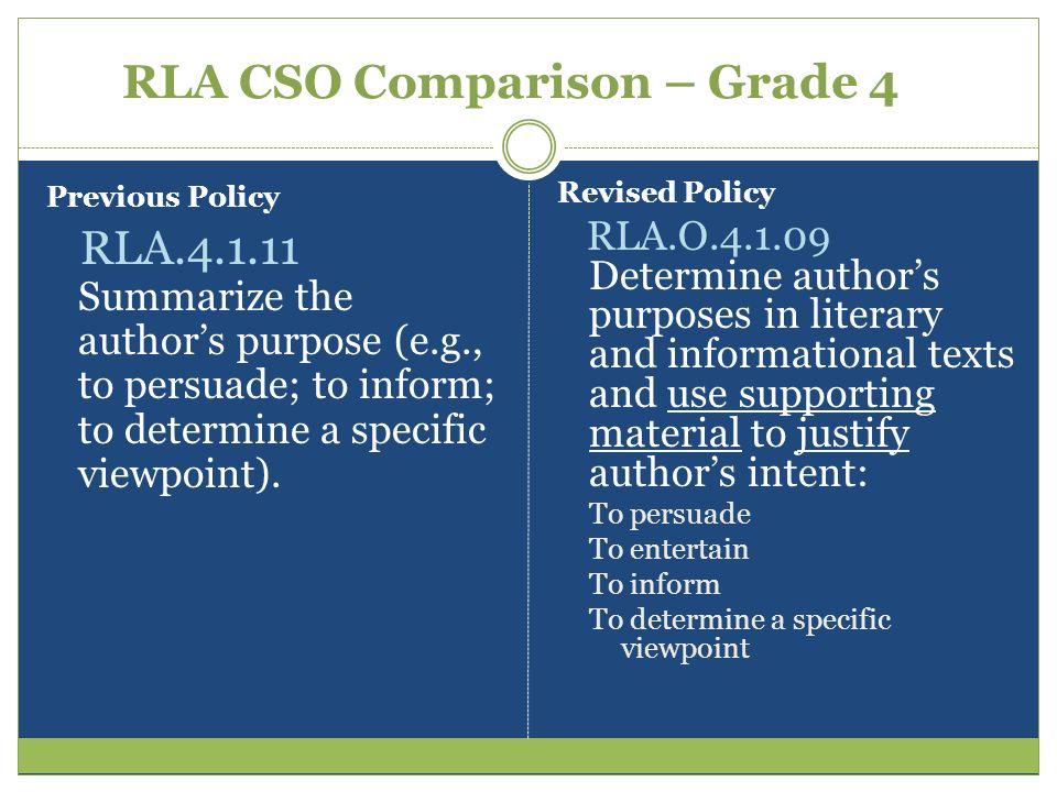 RLA CSO Comparison – Grade 4