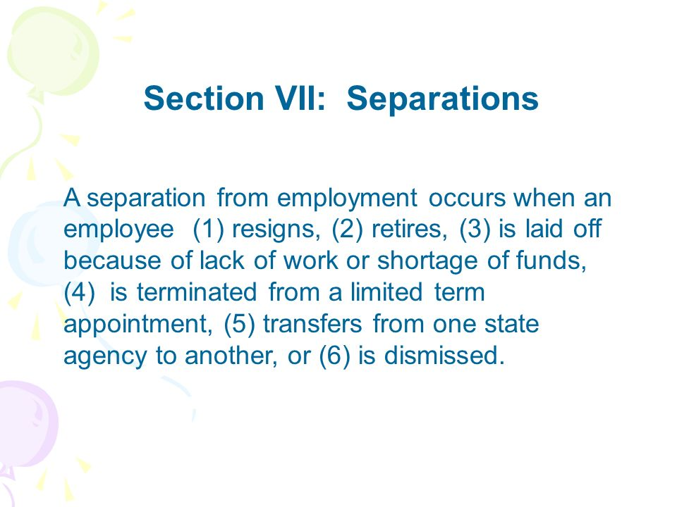 Section VII: Separations