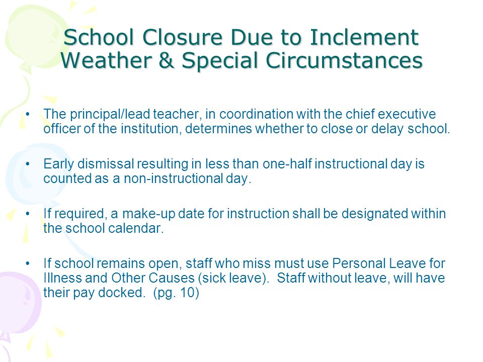 School Closure Due to Inclement Weather & Special Circumstances