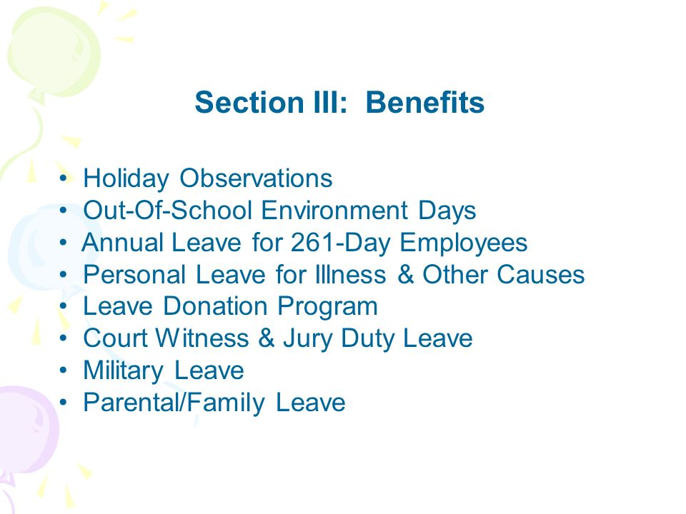 Section III: Benefits Holiday Observations