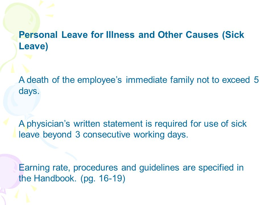 Personal Leave for Illness and Other Causes (Sick Leave)