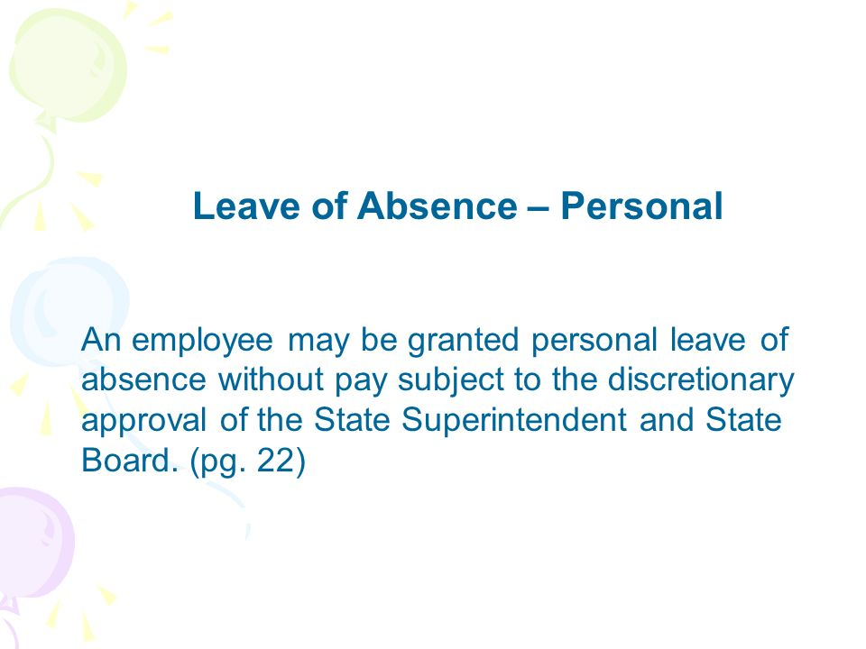 Leave of Absence – Personal