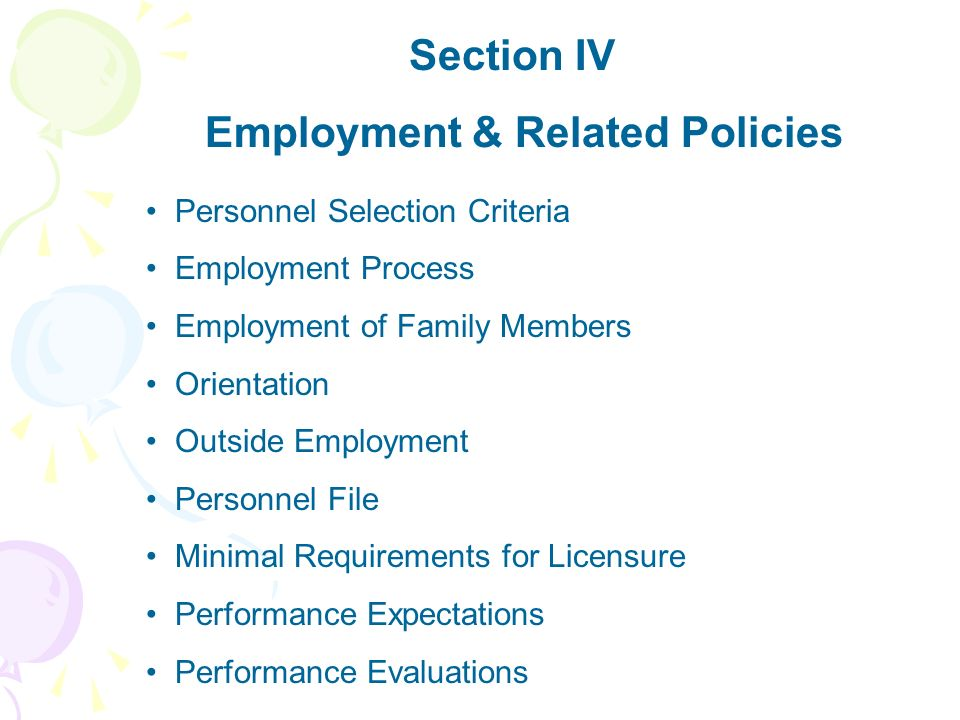 Employment & Related Policies