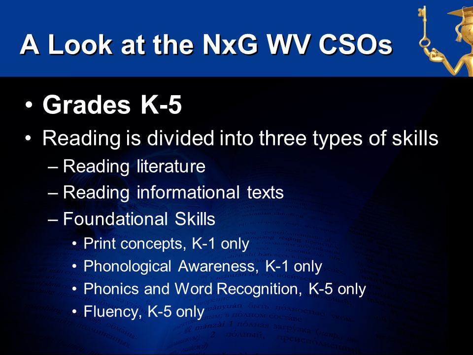 A Look at the NxG WV CSOs Grades K-5