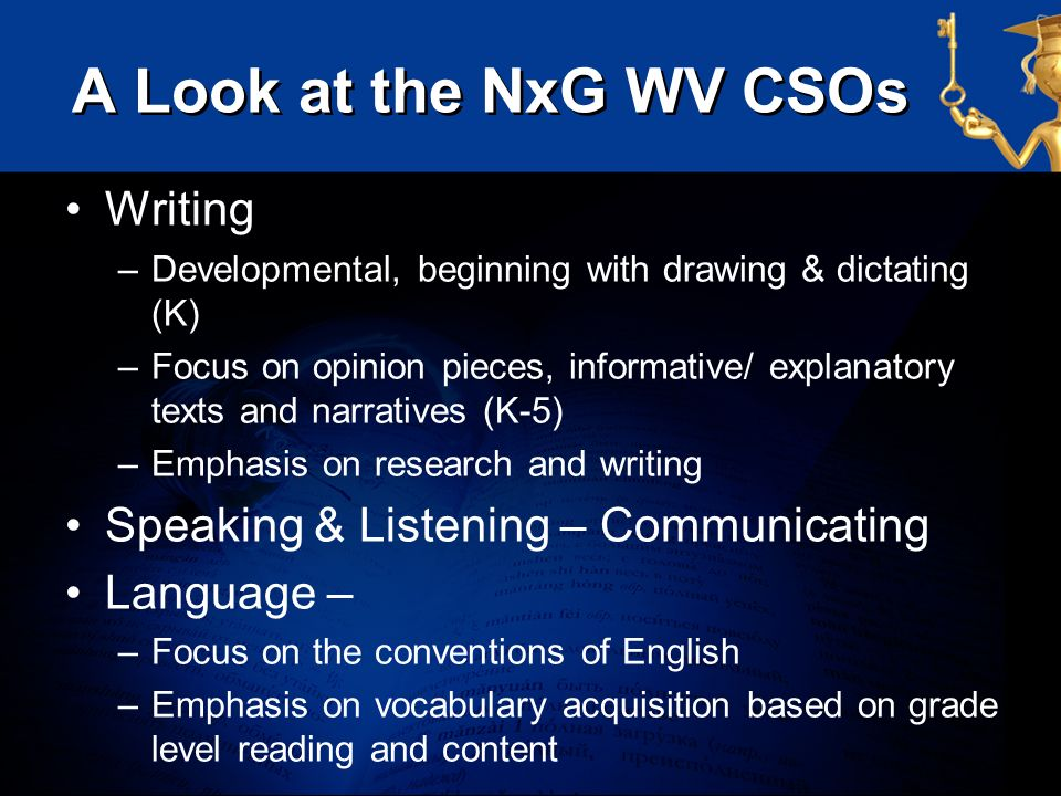 A Look at the NxG WV CSOs Writing Speaking & Listening – Communicating
