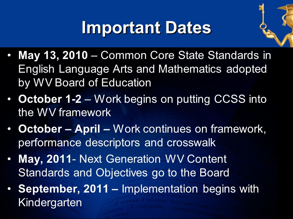 Important Dates May 13, 2010 – Common Core State Standards in English Language Arts and Mathematics adopted by WV Board of Education.