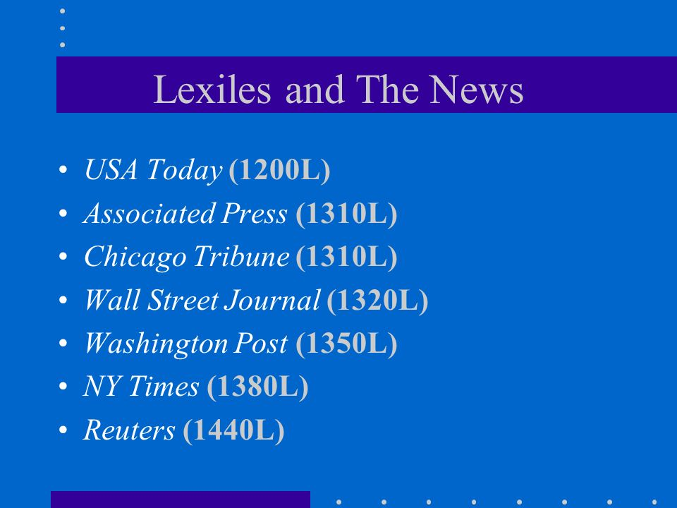 Lexiles and The News USA Today (1200L) Associated Press (1310L)