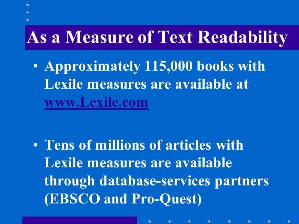 As a Measure of Text Readability