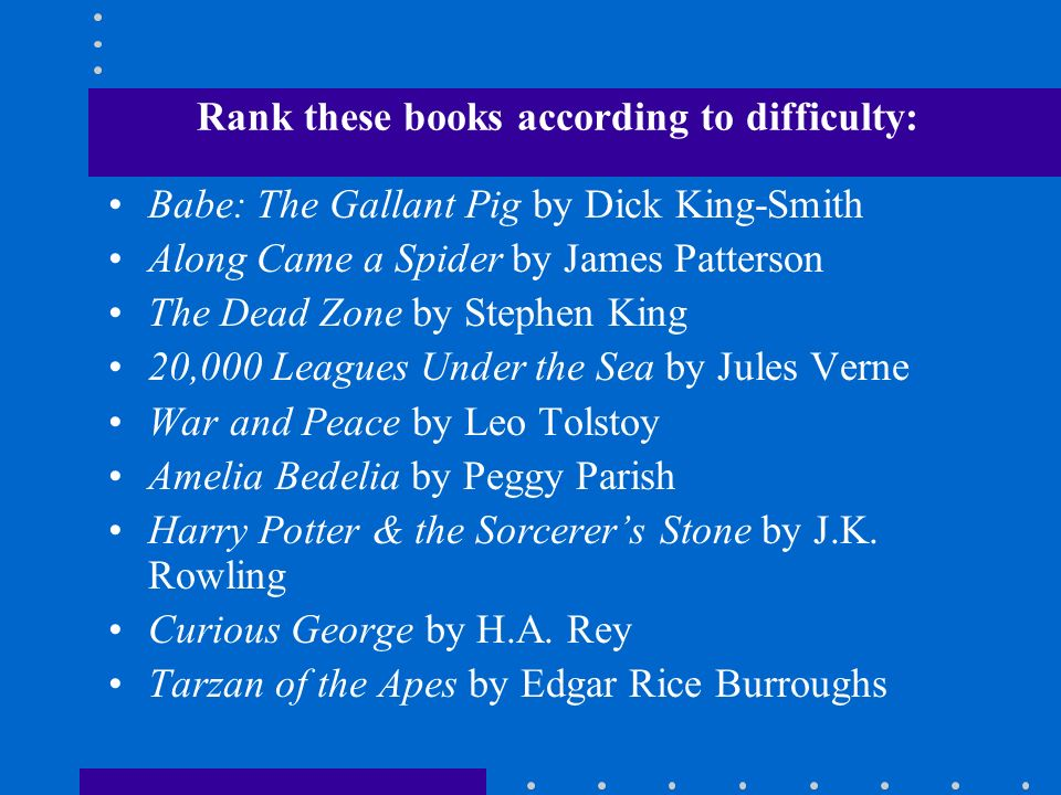 Rank these books according to difficulty: