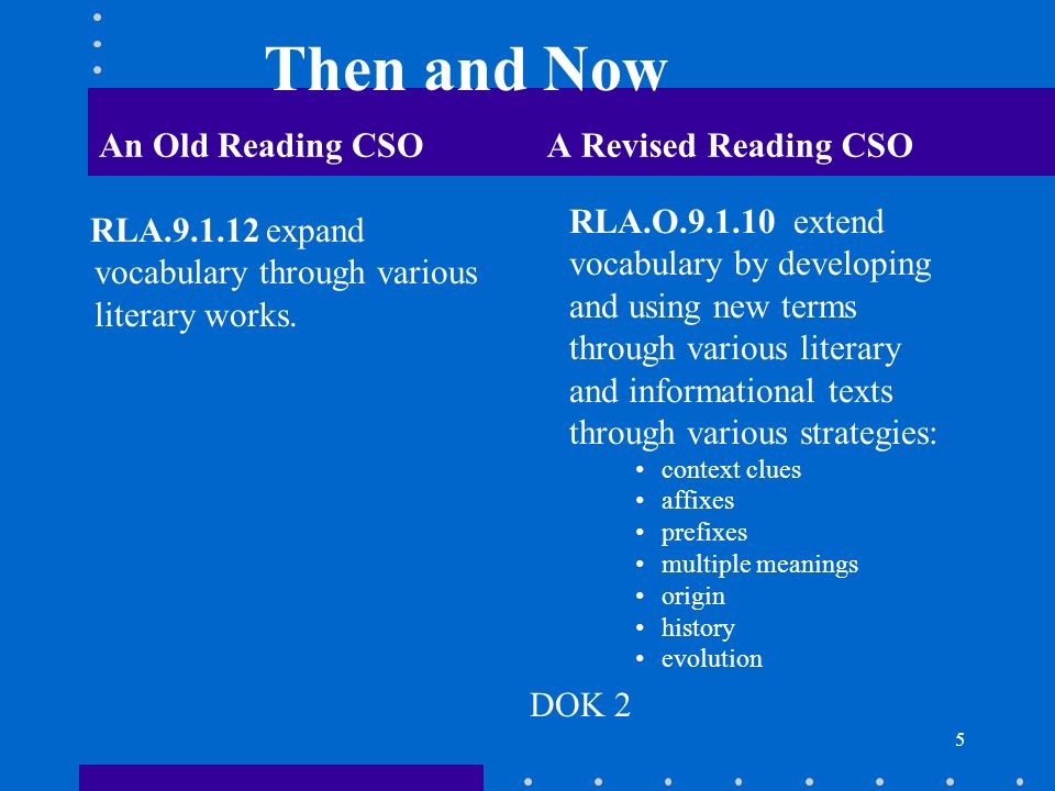 Then and Now An Old Reading CSO A Revised Reading CSO