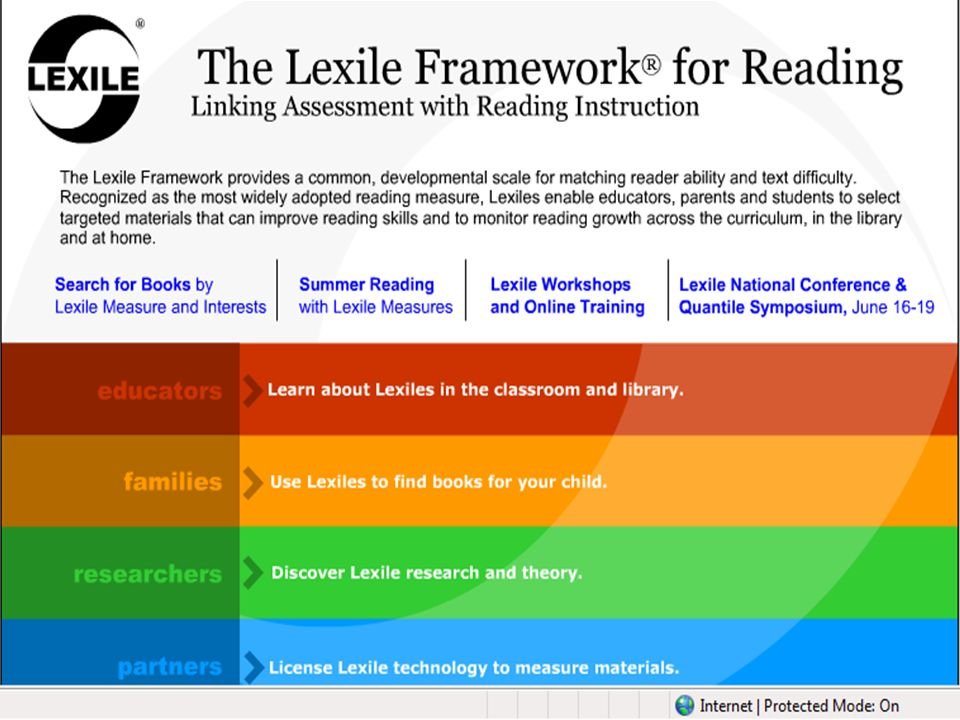 Let's explore this site. Type in www. Lexile