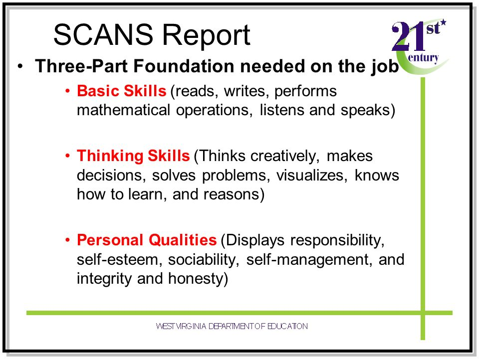 SCANS Report Three-Part Foundation needed on the job
