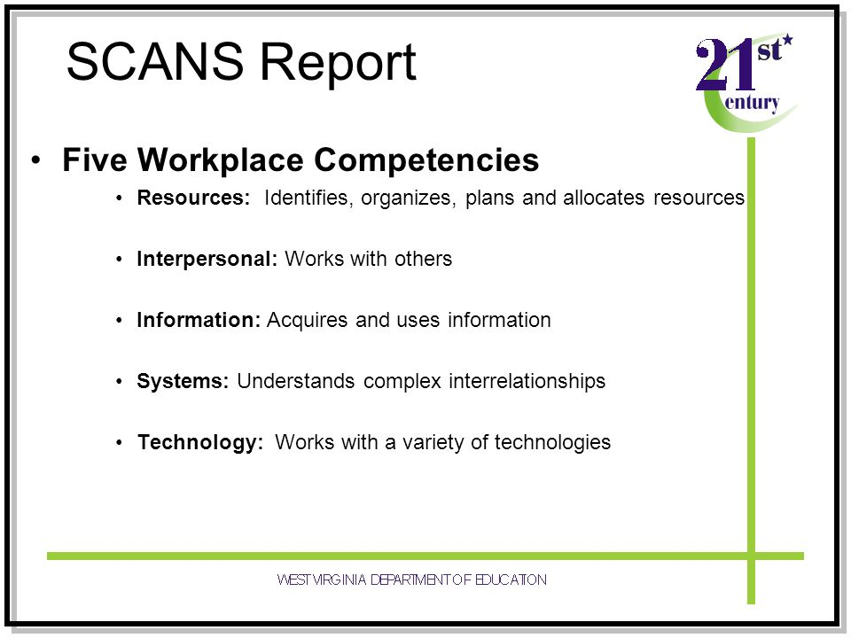 SCANS Report Five Workplace Competencies