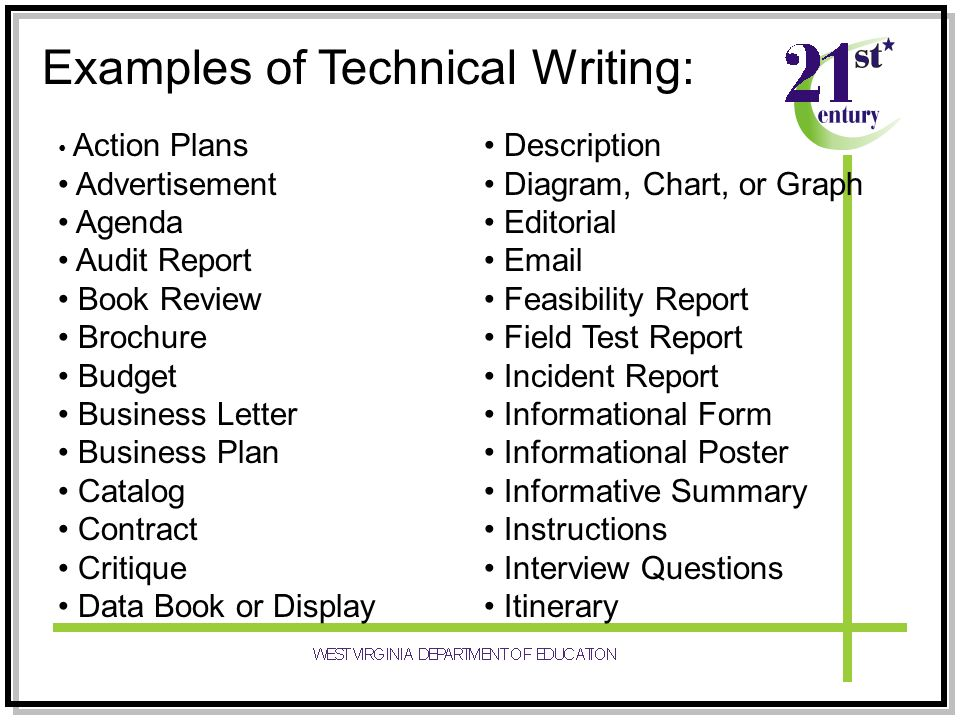 examples of technical writing documents 6 years of experience writing and editing technical documents, including user manuals, white papers, annual reports, presentations, tutorials, and web content excel at working with subject-matter experts to gather information, identify relevant data and audiences, and write documents that are clear.
