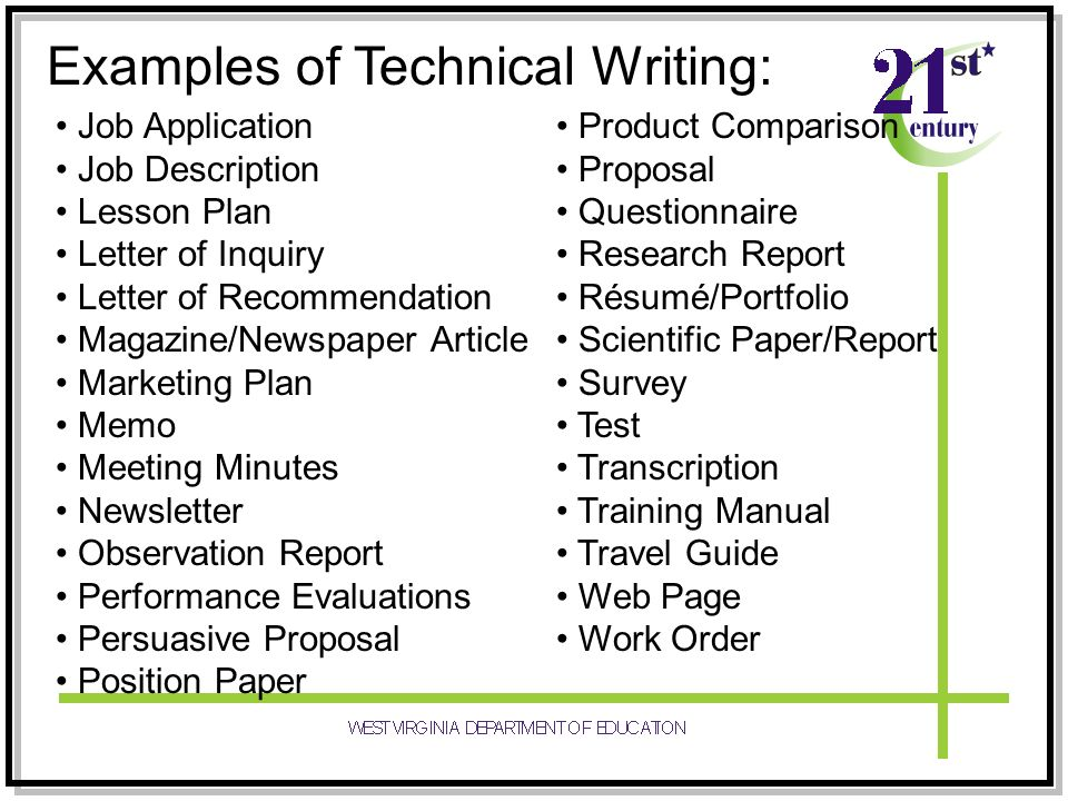 Examples of Technical Writing Assignments