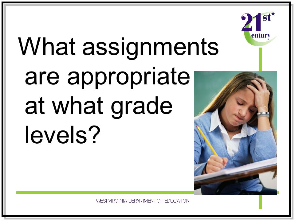 What assignments are appropriate at what grade levels