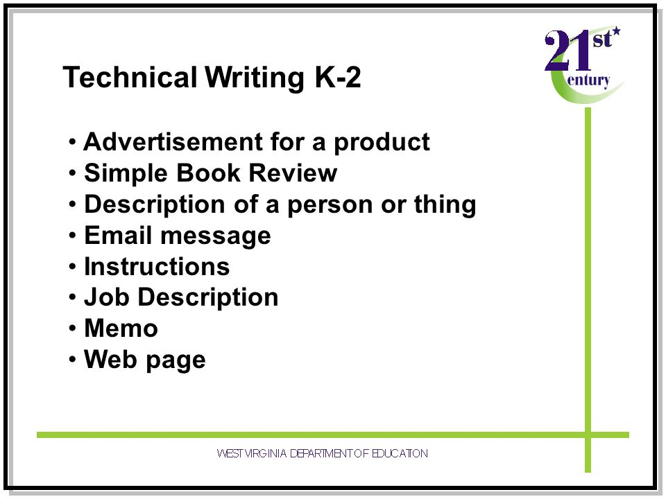 Technical Writing K-2 Advertisement for a product Simple Book Review