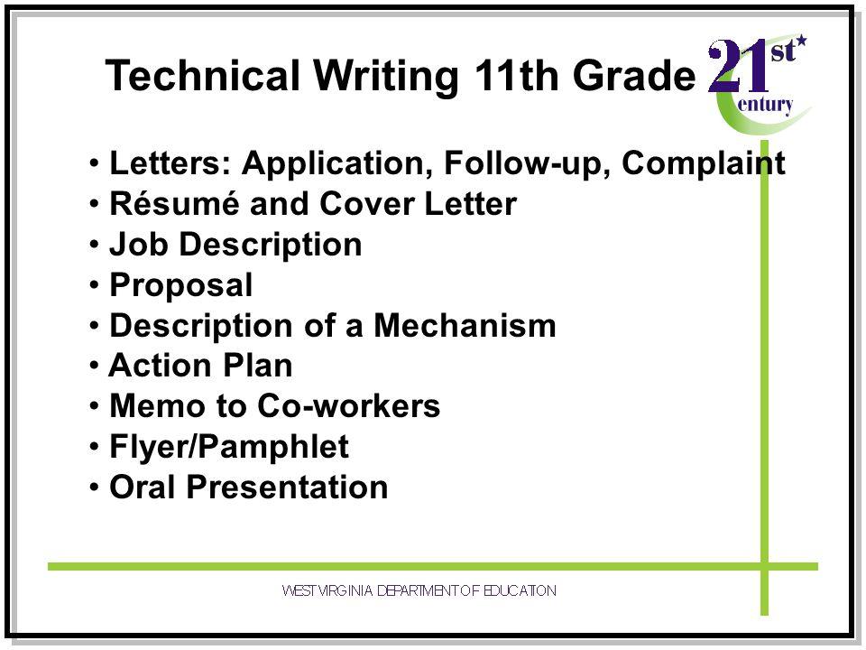 Technical Writing 11th Grade