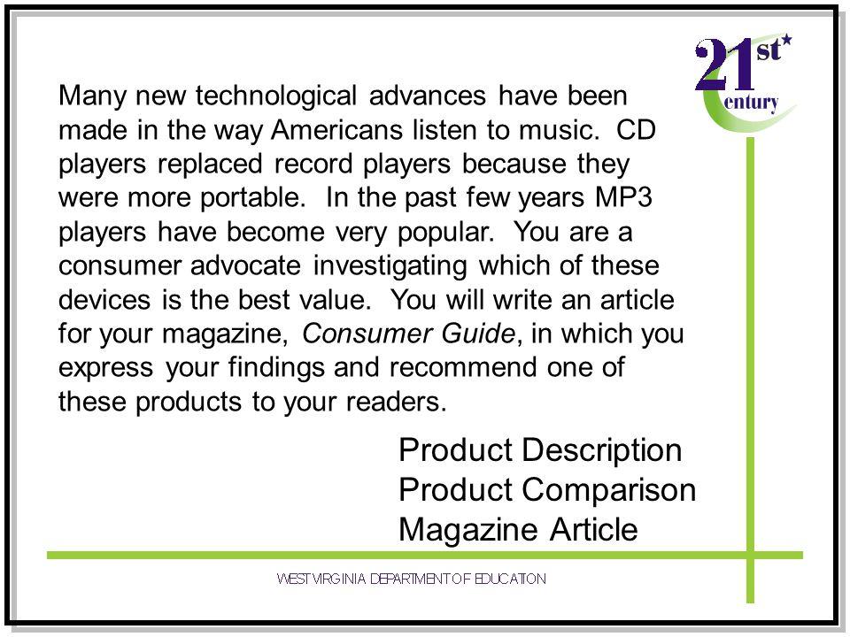 Product Description Product Comparison Magazine Article