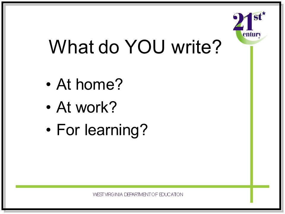 What do YOU write At home At work For learning