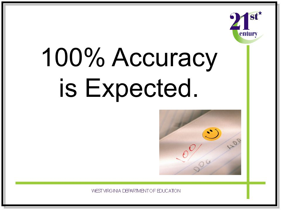100% Accuracy is Expected.