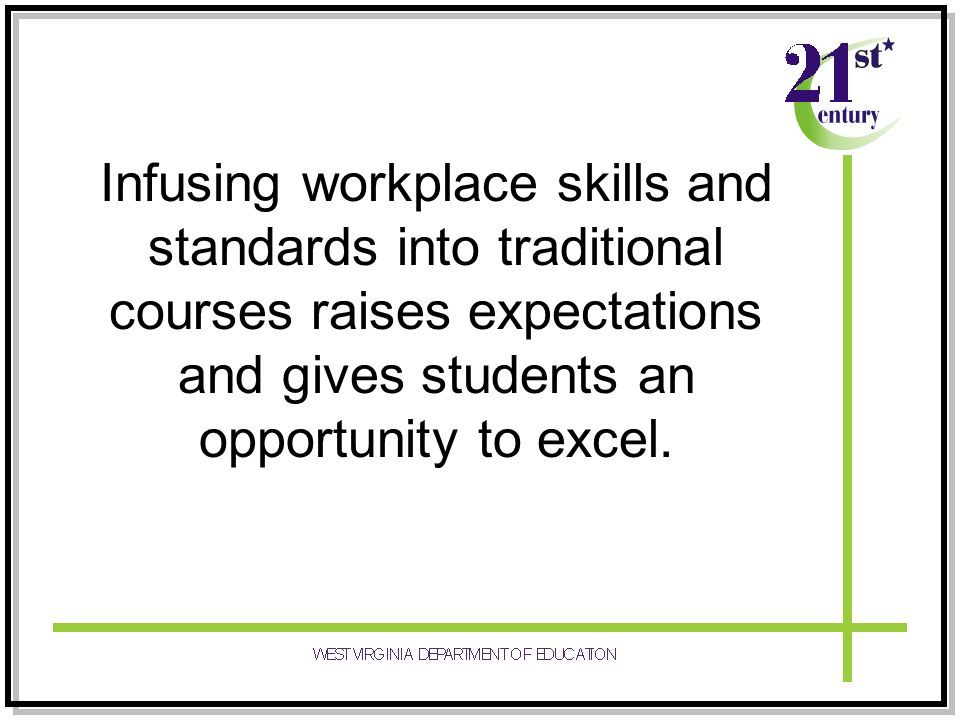 Infusing workplace skills and standards into traditional courses raises expectations and gives students an opportunity to excel.