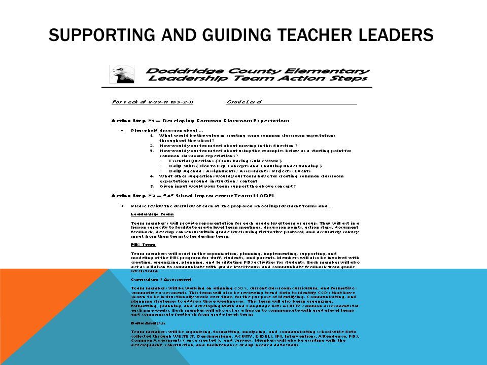 Supporting and guiding teacher leaders