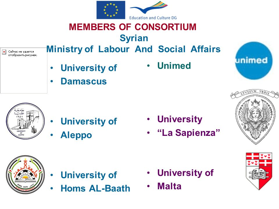 MEMBERS OF CONSORTIUM Syrian Ministry of Labour And Social Affairs