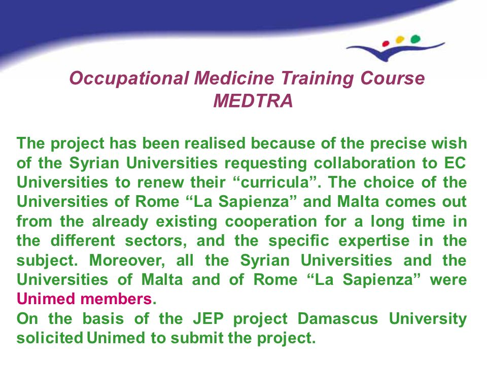 Occupational Medicine Training Course MEDTRA