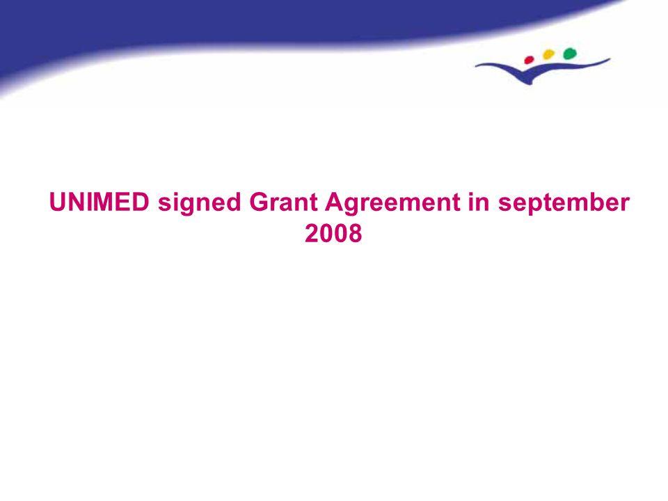 UNIMED signed Grant Agreement in september 2008