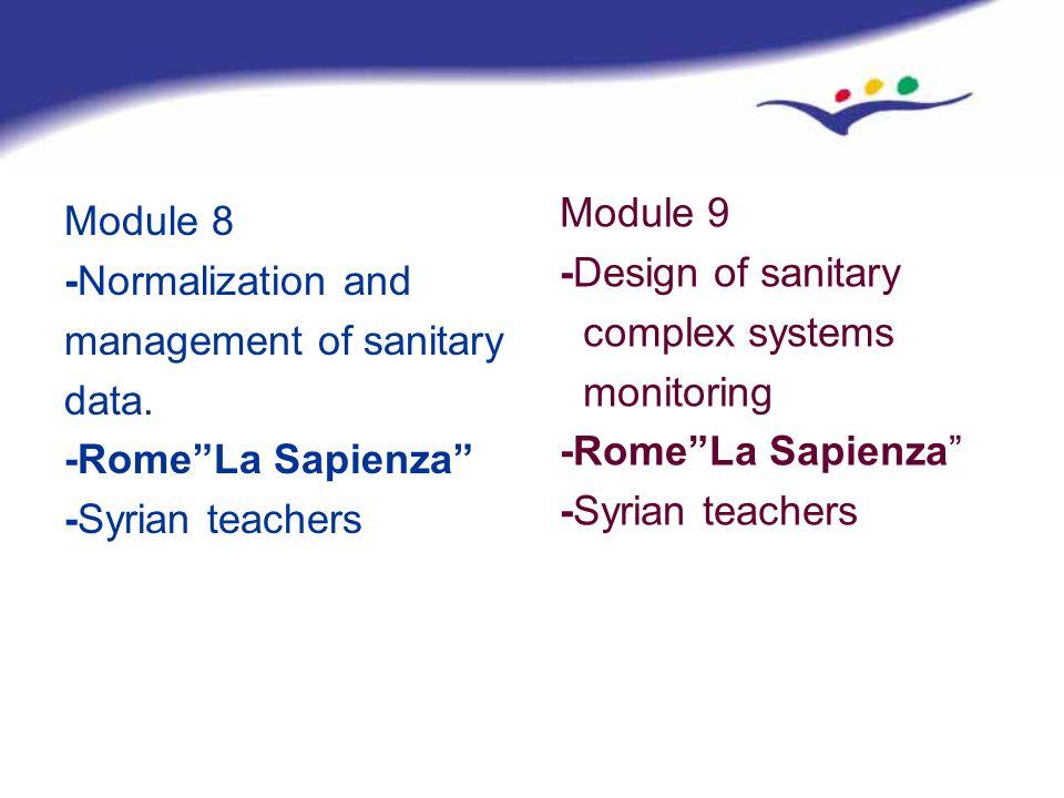 Module 9 -Design of sanitary. complex systems. monitoring. -Rome La Sapienza -Syrian teachers.