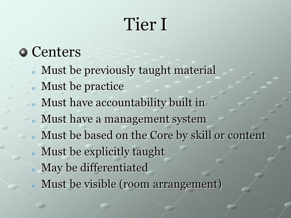 Tier I Centers Must be previously taught material Must be practice