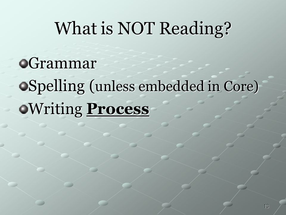 What is NOT Reading Grammar Spelling (unless embedded in Core)