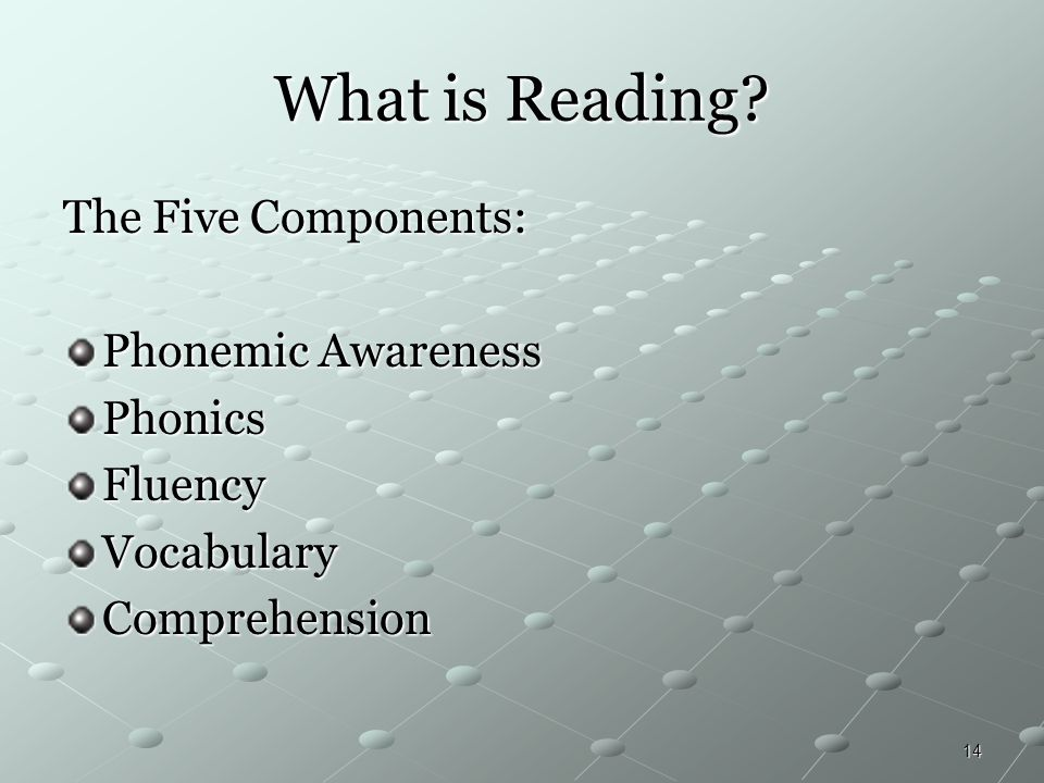 What is Reading The Five Components: Phonemic Awareness Phonics