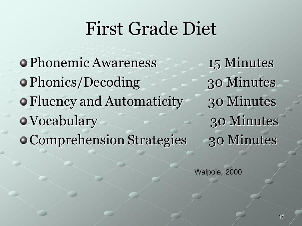 First Grade Diet Phonemic Awareness 15 Minutes