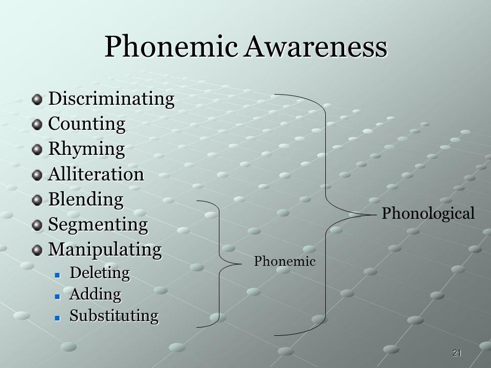 Phonemic Awareness Discriminating Counting Rhyming Alliteration