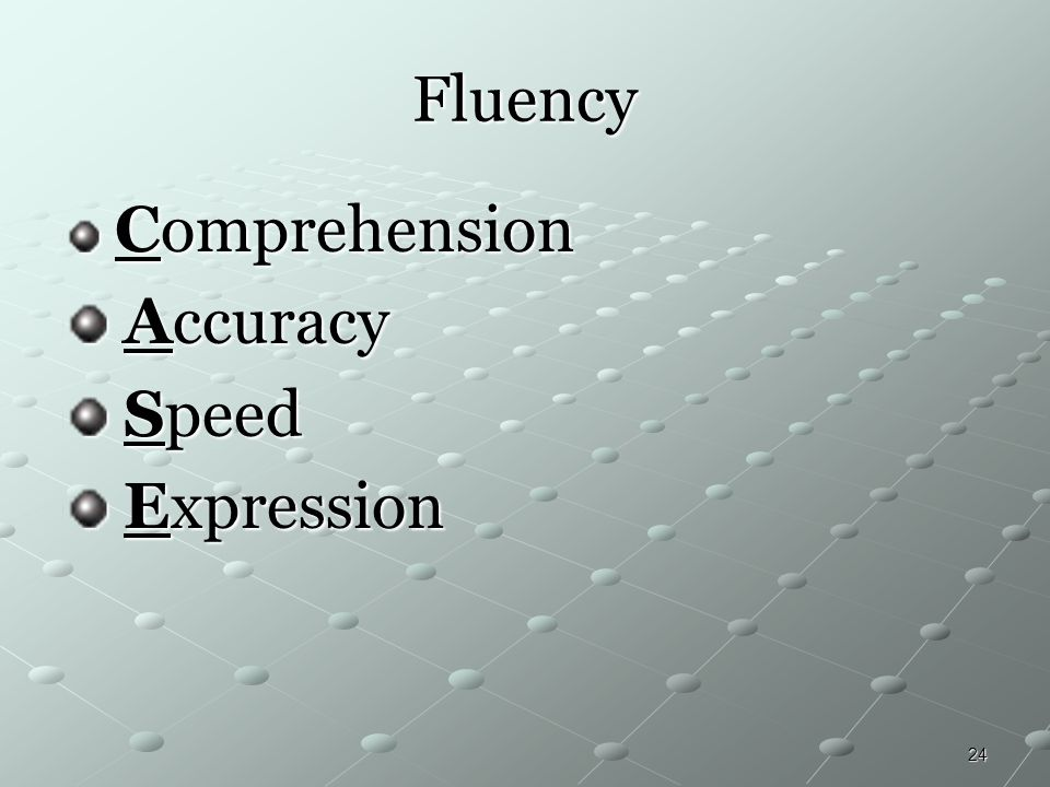 Fluency Comprehension Accuracy Speed Expression