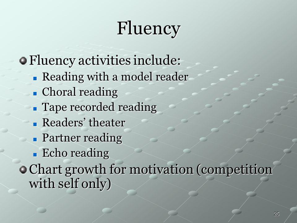 Fluency Fluency activities include: