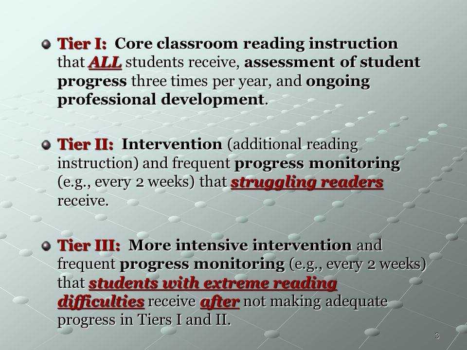 Tier I: Core classroom reading instruction that ALL students receive, assessment of student progress three times per year, and ongoing professional development.