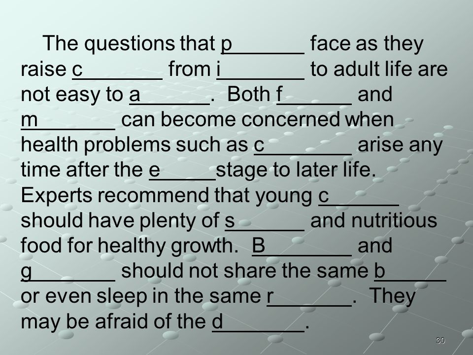 The questions that p. face as they raise c. from i