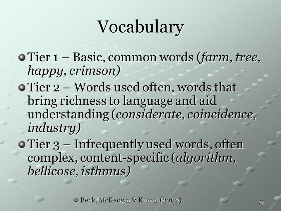 Vocabulary Tier 1 – Basic, common words (farm, tree, happy, crimson)