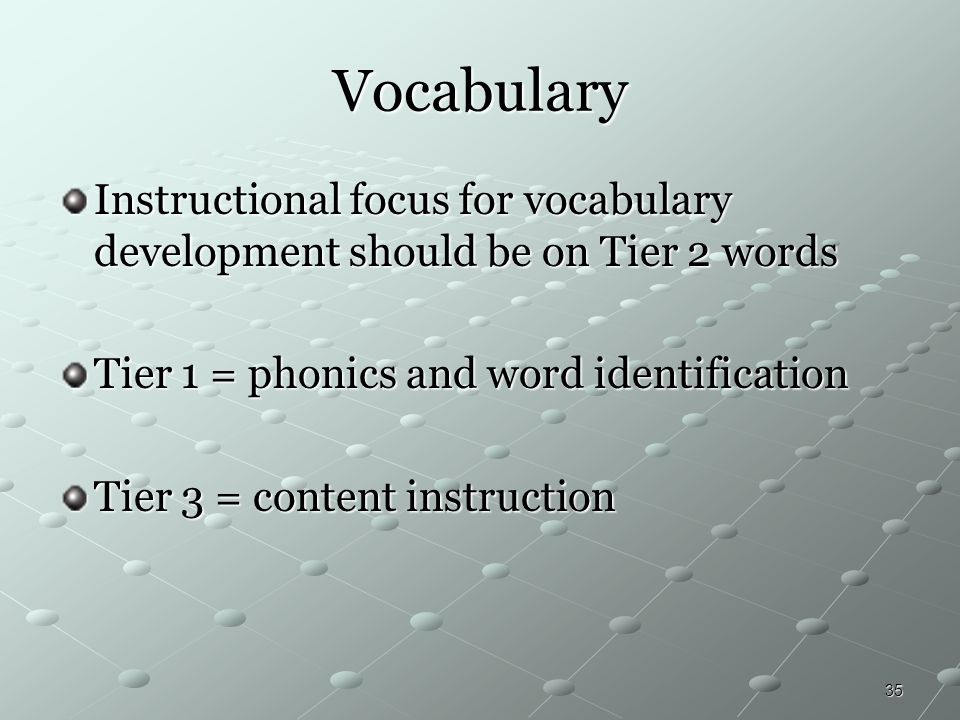 Vocabulary Instructional focus for vocabulary development should be on Tier 2 words. Tier 1 = phonics and word identification.