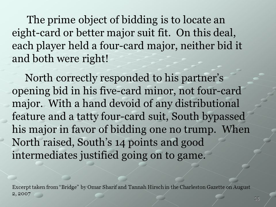 The prime object of bidding is to locate an eight-card or better major suit fit. On this deal, each player held a four-card major, neither bid it and both were right!