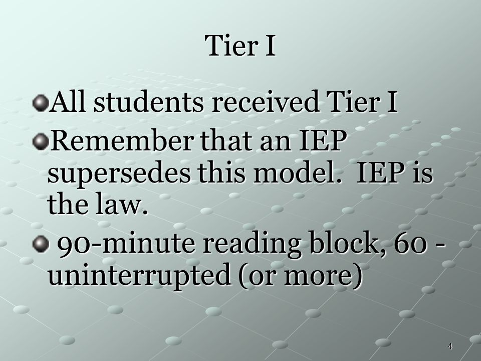 Tier I All students received Tier I. Remember that an IEP supersedes this model. IEP is the law.