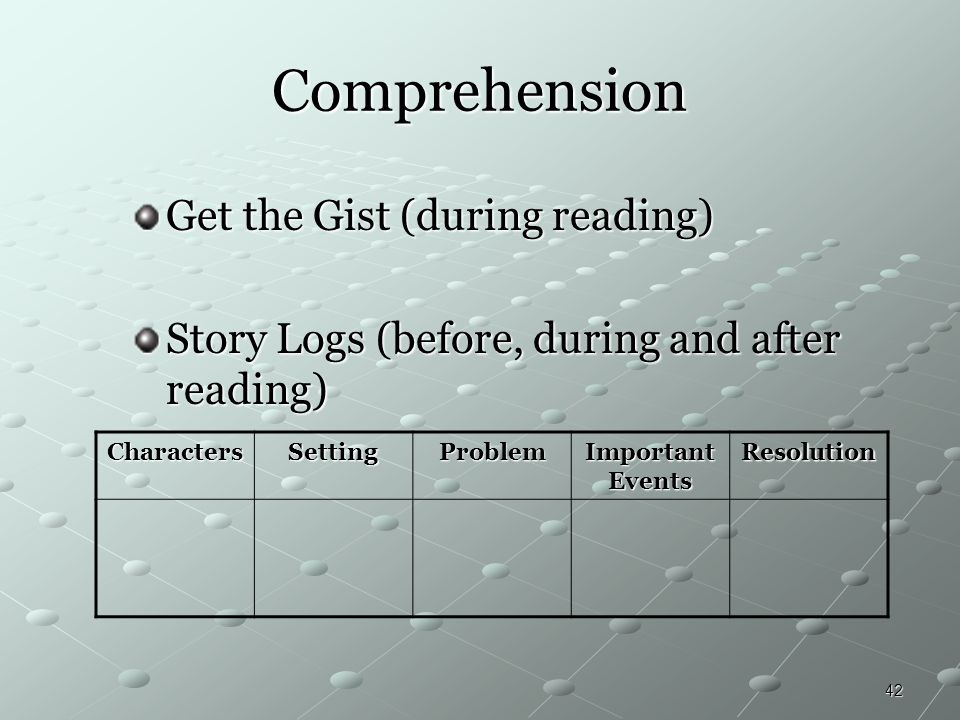 Comprehension Get the Gist (during reading)
