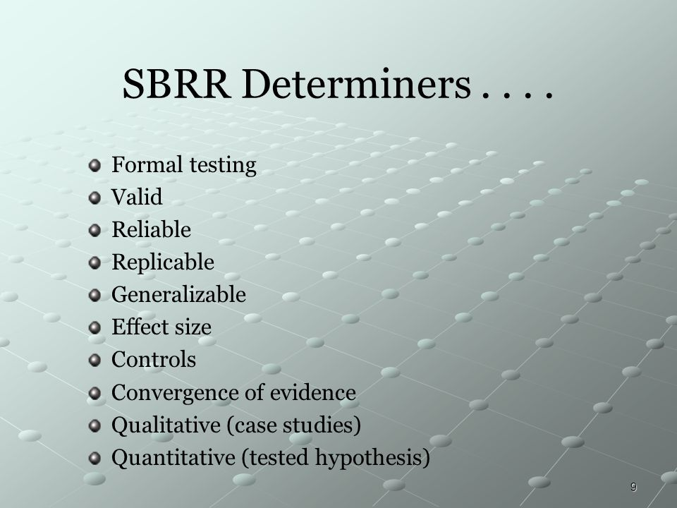 SBRR Determiners . . . . Formal testing Valid Reliable Replicable