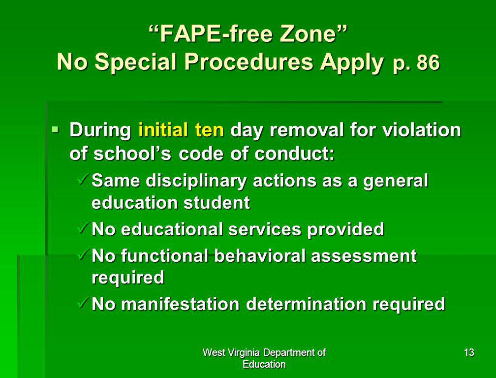 FAPE-free Zone No Special Procedures Apply p. 86