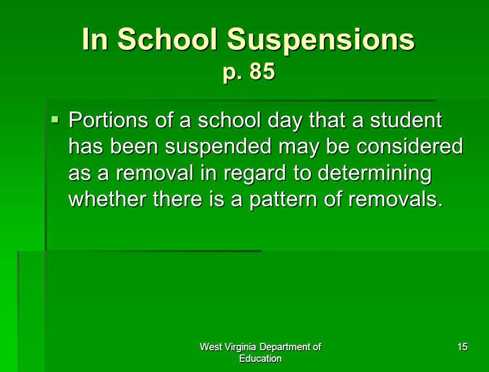 In School Suspensions p. 85