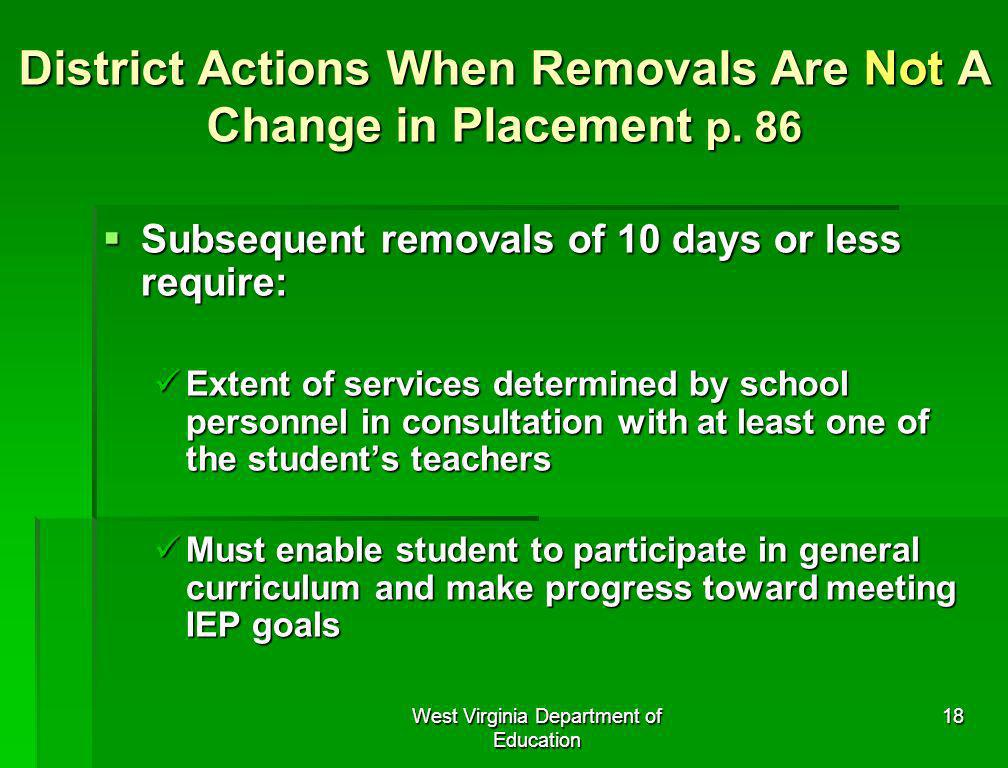 District Actions When Removals Are Not A Change in Placement p. 86